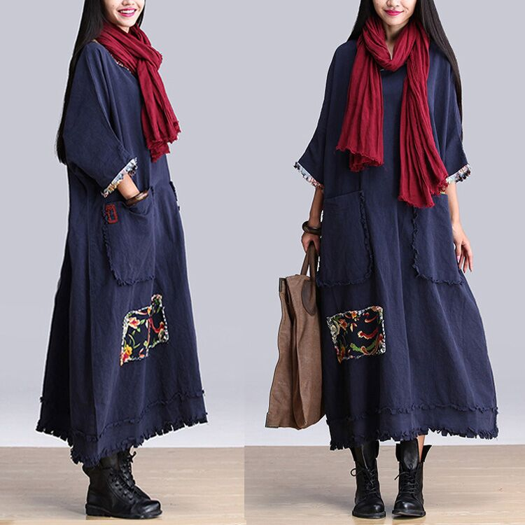 dc148f4891 Navy Blue Islamic Muslim Linen Dress Long Arabic Pakistan Abaya Three  Quarter Sleeve O neck Pockets Embroidery Tassel Maxi Robes-in Dresses from  Women s ...
