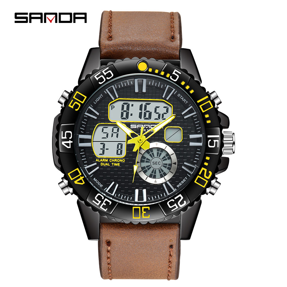 SANDA luxury brand mens sports watch dual display digital analog watches LED light electronic quartz watch 30M waterproof SANDA luxury brand mens sports watch dual display digital analog watches LED light electronic quartz watch 30M waterproof