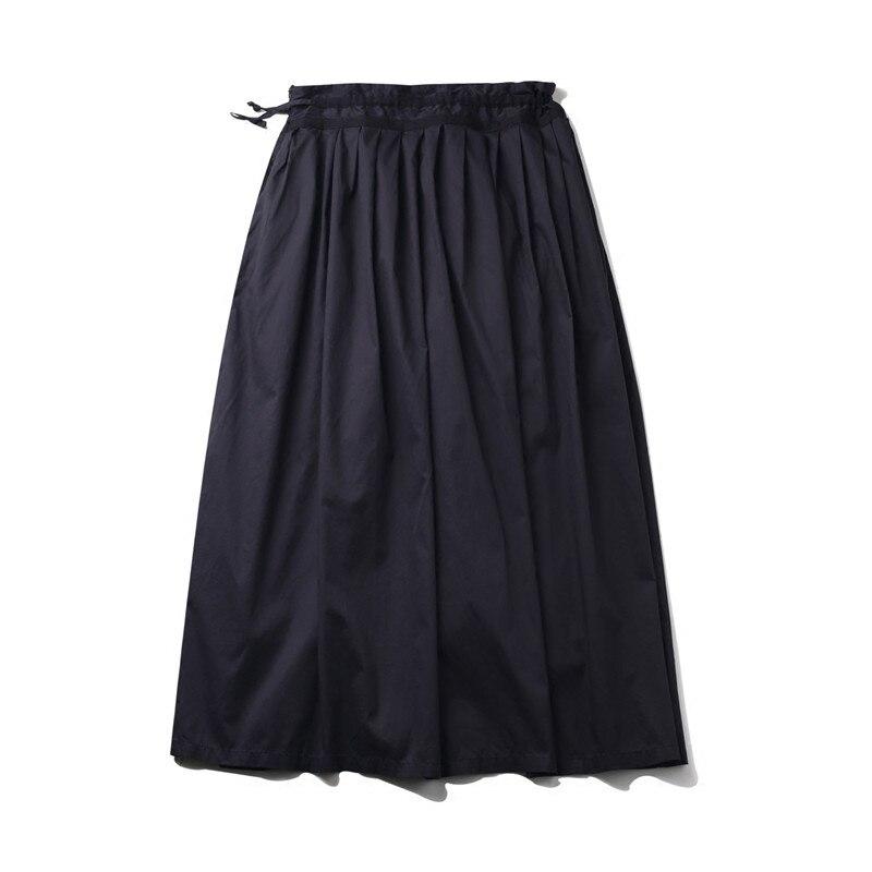 Empire Femmes Coton Noir Plis Maxi Longues Japon A ligne Cakucool Nouveau Panneau Jupes Jupe Casual Conception Taille wAXnBxf4q