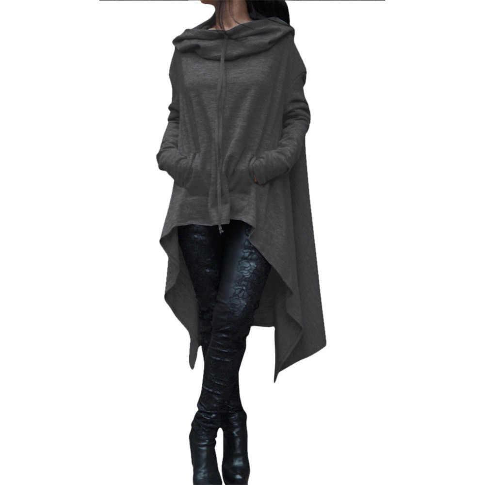 Повседневный Свободный Топ для женщин с длинным рукавом и капюшоном, толстовка с капюшоном в виде ласточкиного хвоста, пуловер, топы, толстовки для женщин, осень 2019, джемпер, пальто, США
