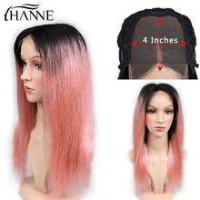 HANNE Hair 4*4 Lace Front Pink Wigs For Women Middle Part Human Hair Wigs 1B/Pink Color 150% Density Brazilian Remy Wig