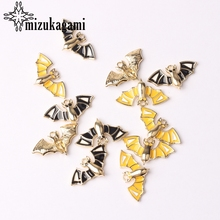 Zinc Alloy Enamel Charms Cute Halloween Bat Charms 28mm 6pcs/lot For DIY Jewelry Making Finding Accessories charms for jewelry making floating charms enamel charms zinc alloy sun moon