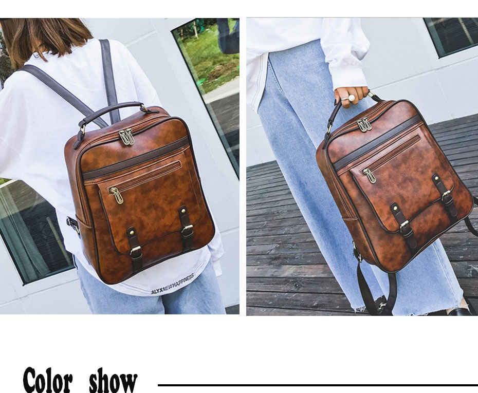 Luggage & Bags Fashion Women Backpack Pu Leather School Bag Vintage Large Schoolbag For Teenage Girls Brown Black Backpacks Men Rucksack Xa30h To Be Distributed All Over The World
