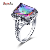 Szjinao Big Rainbow Topaz Cocktail Rings Genuine 925 Sterling Silver Vintage Dress Ring for Women Valentine Day Gifts
