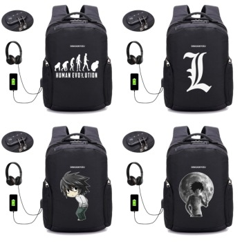 anime Death Note backpack USB Charging Laptop student book bag Teenager Male Leisure Travel Backpack Anti Thief Package 20 style anime sword art online backpack usb charging laptop bag men desing anti thief travel waterproof school backpack 16 style