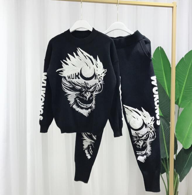 Ensemble Et Dessin 2018 De Deux Noir Manches Brodé Des À Pull Longues Pièces Nouveau Pantalon Chandail D'hiver Tricoté Femmes Animé Automne EHEpqg