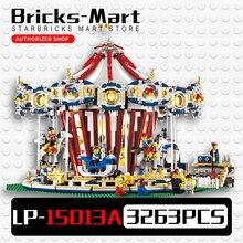 Лепин 15013 город Sreet карусель Конструкторы и модели Блоки игрушка Совместимость 10196 Рождественский подарок
