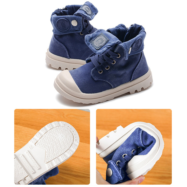 2019 Spring Autumn New Kids Sneakers High Children's Canvas Shoes Boys And Girls Child Baby Martin Boots Casual Military Boots 3