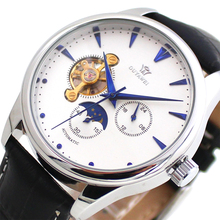 OUYAWEI Automatic Mechanical watch men Fashion Leather Wristwatch Moon Phase Mens Wrist Watches Male Clock  relogio masculino new luxury fashion mens automatic mechanical watches carnival men moon phase clock male stainless steel gold watch montres homme