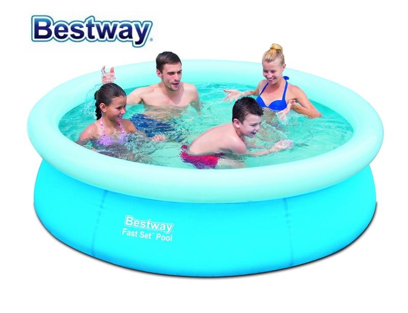 Bestway 1.98mx51cm/78x20 Fast Set PoolL 1126 L RE-ENGINEERED PVC Inflatable Top-ring Pool Medium-Size Paddling Pool