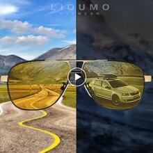 LIOUMO marka fotokromik güneş gözlüğü polarize erkekler güneş gözlüğü gündüz & gece görüş kadınlar sürüş gözlükleri Oculos zonnebril mannen