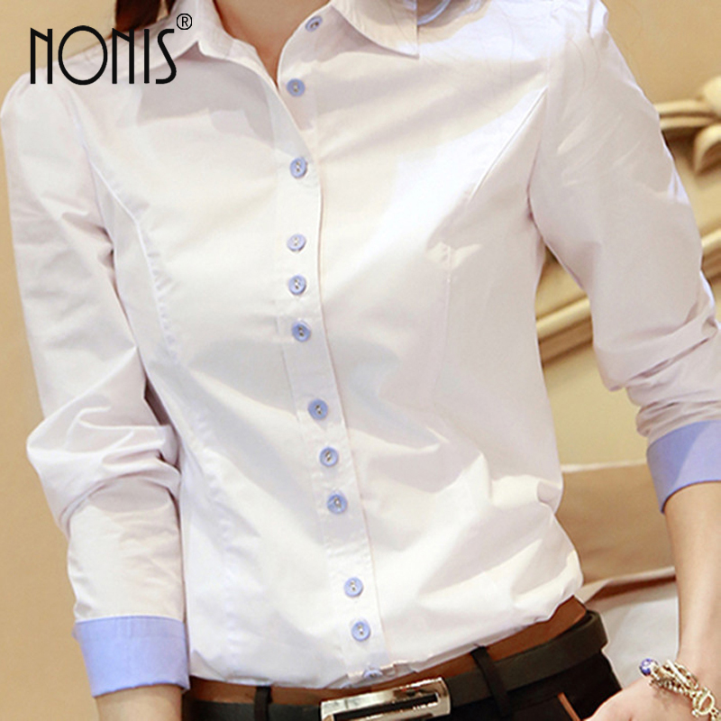 Formal bussiness suit shirts for women 2017 new white blue pink OL - Women's Clothing