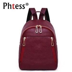 Image 1 - 2019 Kadın Deri kızlar için sırt çantaları Kese Dos Mochilas Seyahat Rahat Daypacks okul sırt çantası Kadın Vintage Sırt Çantası Bayanlar