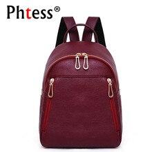 2019 المرأة الجلود حقيبة ظهر للفتيات Sac دوس Mochilas السفر عارضة Daypacks حقيبة المدرسة الإناث خمر Bagpack السيدات