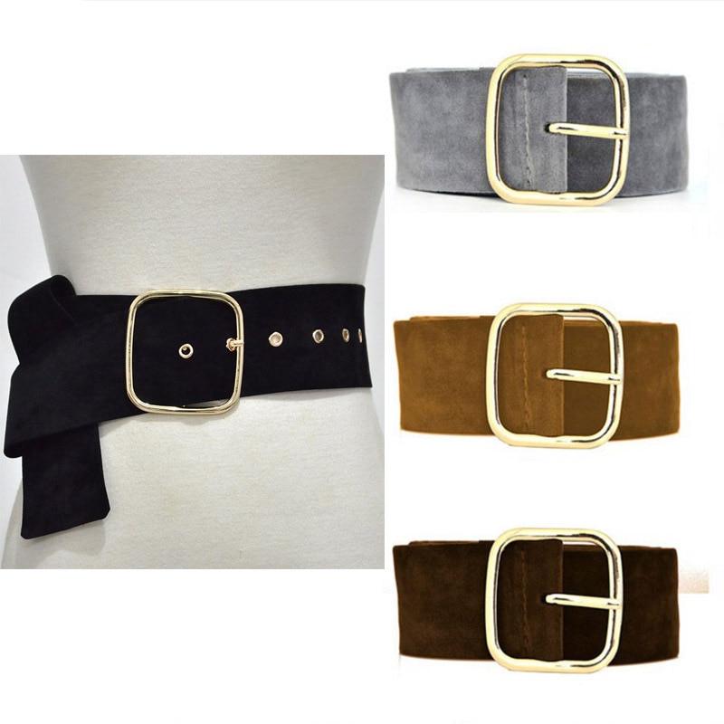 New Design Wide Belt Female Dress Belts Decorate Waistband Fashion Gold Pin Buckle Velvet Belt Party Belt Black Flannel Women