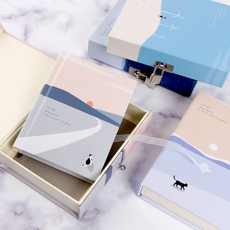 """""""Cats Journey"""" Diary with Lock Notebook Cute Functional Planner Lock Book Dairy Journal Stationery Gift Box Package-in Notebooks from Office & School Supplies"""