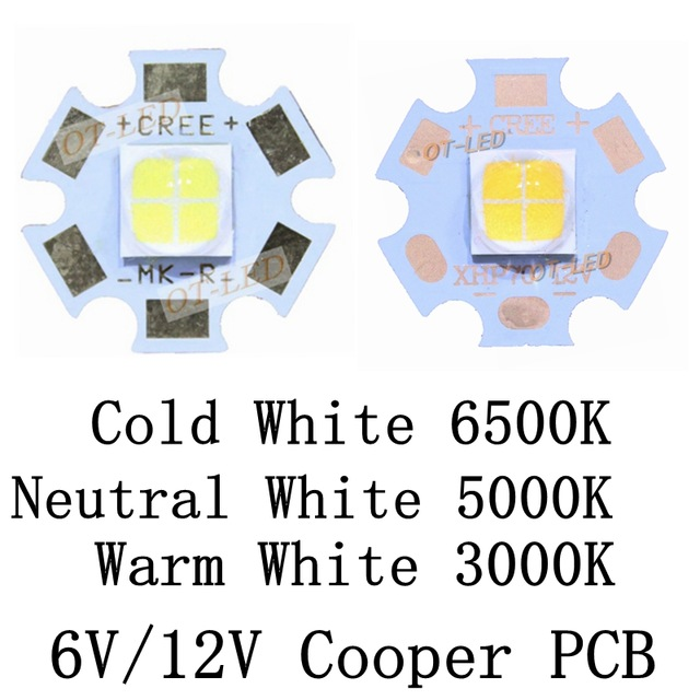 10pcs/lot,CREE XHP70 Cool White 6500K Neutral White 5000K Warm White 3000K LED Emitter Didoes 6V 12V with 20mm Copper PCB cree xhp70 cool white neutral white warm white high power led emitter 30w 6v or 12v for led scuba flashlight diver torch light