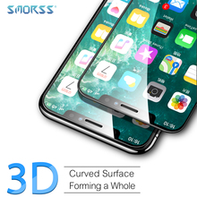 SMORSS 2 PCS Protection Film for iphone X 3D Surface Upgraded Version Full Screen Coverage Soft Edge HD Tempered Glass Films full coverage protection 3d screen for apple 7 hd carbon premium tempered glass film for iphone7 movie protection screen