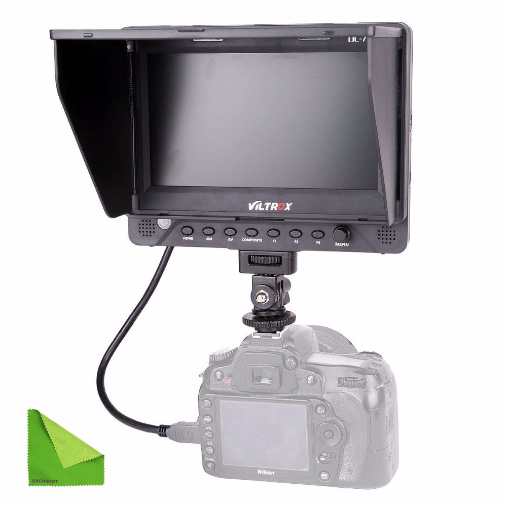 EACHSHOT DC-70EX 7 HD 1024x600 IPS Screen Clipon HDMI/SDI/AV Input Output Camera Video LCD Monitor Display for DSLR Camera BMCC new aputure vs 5 7 inch 1920 1200 hd sdi hdmi pro camera field monitor with rgb waveform vectorscope histogram zebra false color