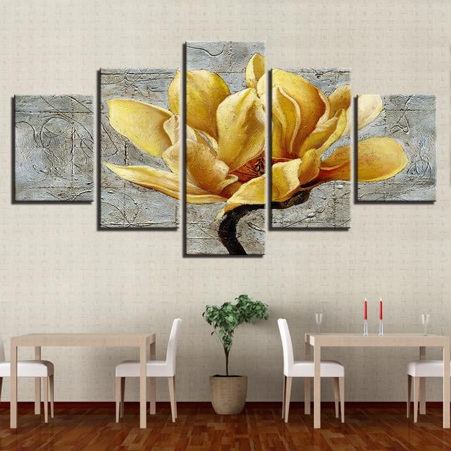 canvas hd prints pictures home decor framework 5 pieces golden