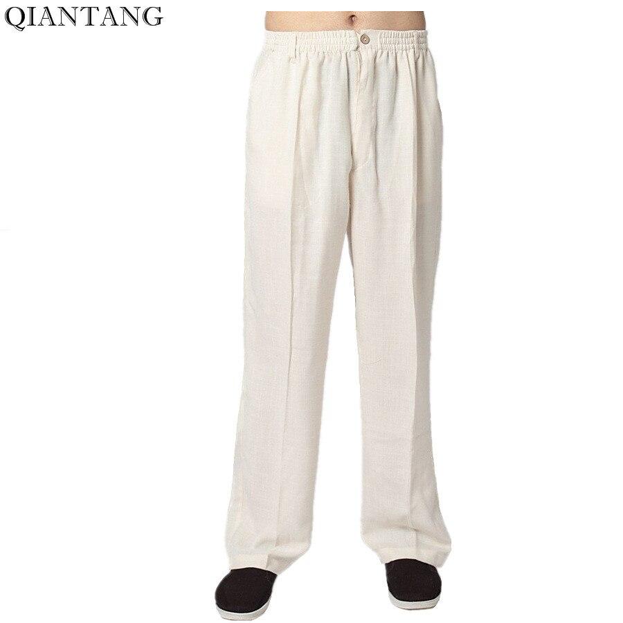 Горячая продажа кремовые мужские хлопковые льняные брюки кунг-фу китайские традиционные ушу брюки с карманом Размер S M L XL XXL XXXL 2352-2