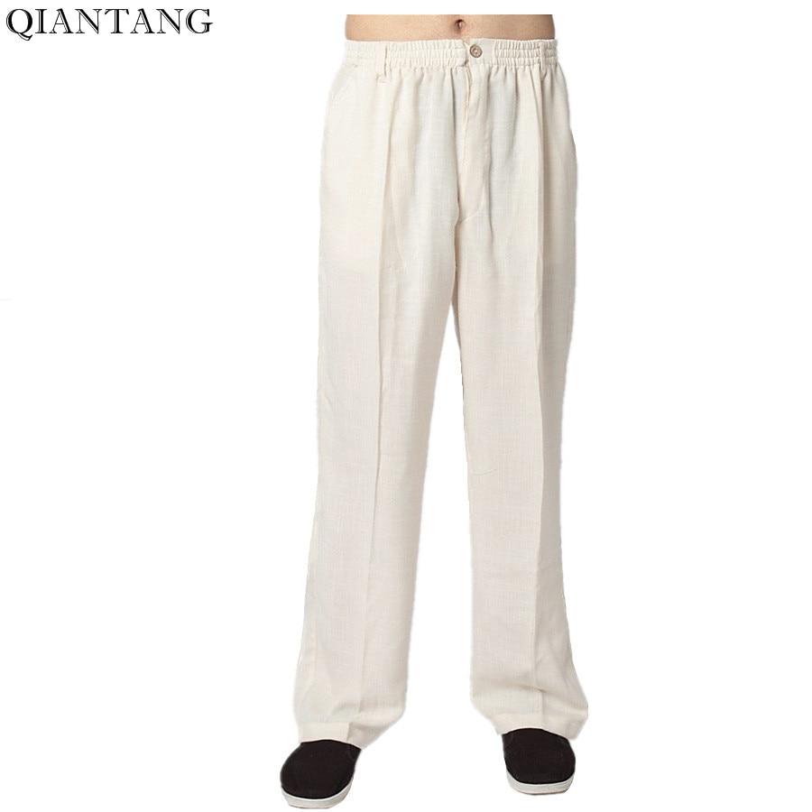 포켓 사이즈 S M L XL XXL XXXL 2352-2 뜨거운 판매 크림 남자 면직물 쿵푸 바지 중국 전통 무술 바지