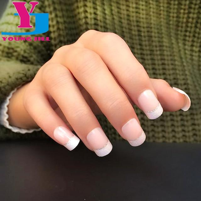 Clical French Nail Art Tips Short False Acrylic Patch Fake Nails Faux Ongles Unha