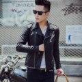 2017 Весной Новый мужская Кожаная Куртка Черный Мода Панк Мотоцикл Куртки Мужчины Slim Fit PU Кожаное Пальто