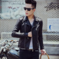 2017 Primavera Nuevos hombres de la Chaqueta de Cuero Negro Chaqueta de La Motocicleta Punky de Moda Masculina Slim Fit PU Leather Coat