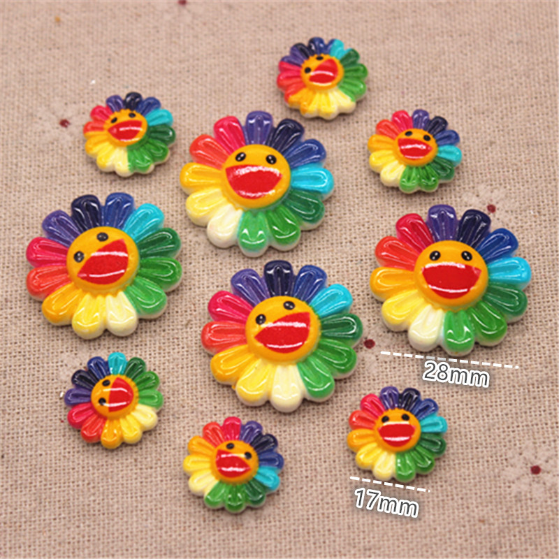 17mm/28mm Cute Resin Rainbow Smiling Sunflower FlatBack Cabochon DIY Scrapbook Hair Ornament Decoration
