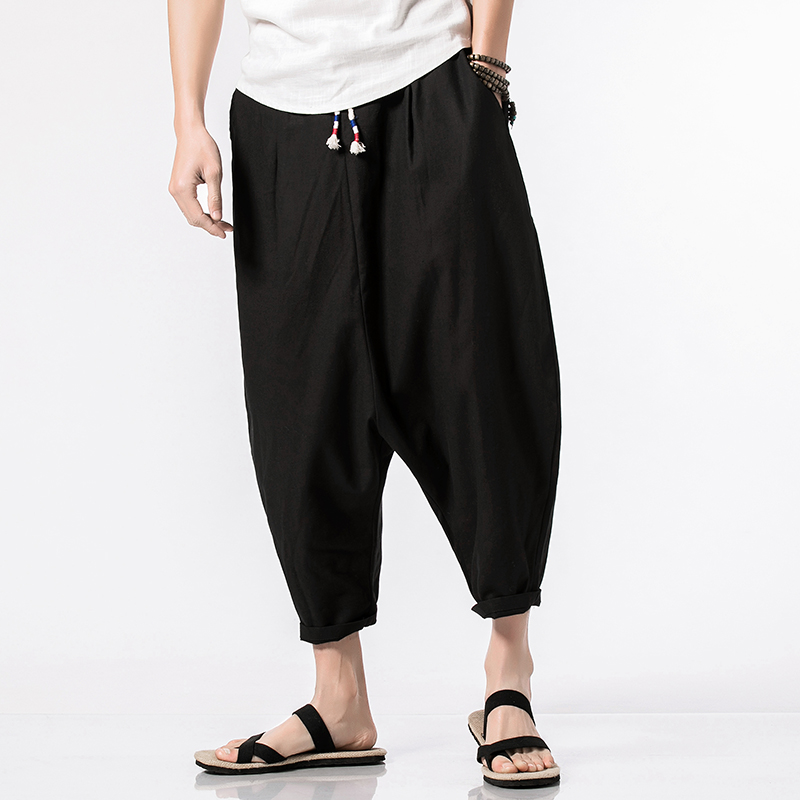 MRDONOO 2018 Summer Cropped Trousers Chinese Linen Long   Shorts   for Men Harem Pants Bermuda Casual   Short   Pants QT4018-3659