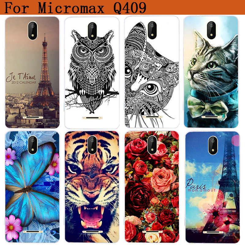 Pour Micromax Q409 étuis de luxe loup tigre hibou Rose peint doux Tpu couverture arrière étui pour Micromax Q409 Fundas Coque téléphone transparent