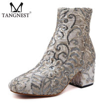Tangnest Luxury Brand Lady's Ankle Boots Fashion Bling Embroider Thick Heel Boots Elegant Velvet Office Pumps Women Boot XWX6452