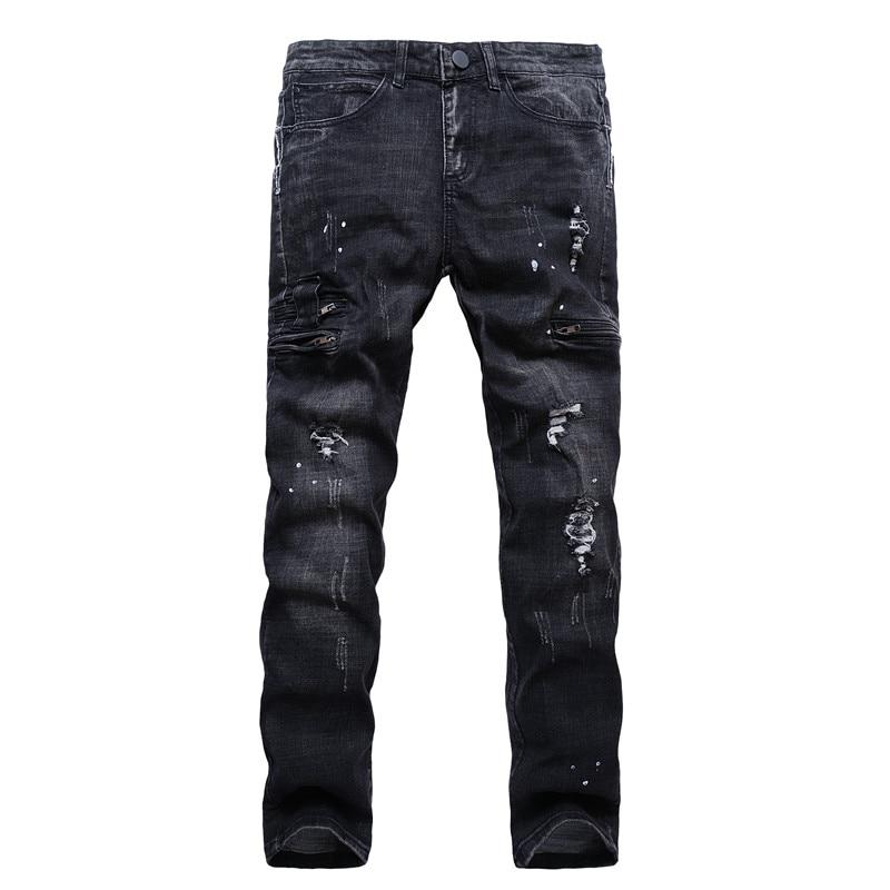 High Street Style Mens Skinny Black Jeans New Fashion Men Elasticity Slim Denim Jeans Men Holes Zipper Jean Pants Size 40