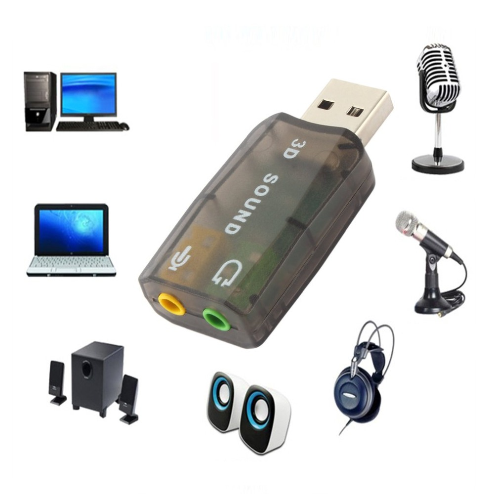 USB2.0 Audio Headset Headphone Earphone Mic Microphone Jack Converter Adapter with Dynamic surround background sound effect