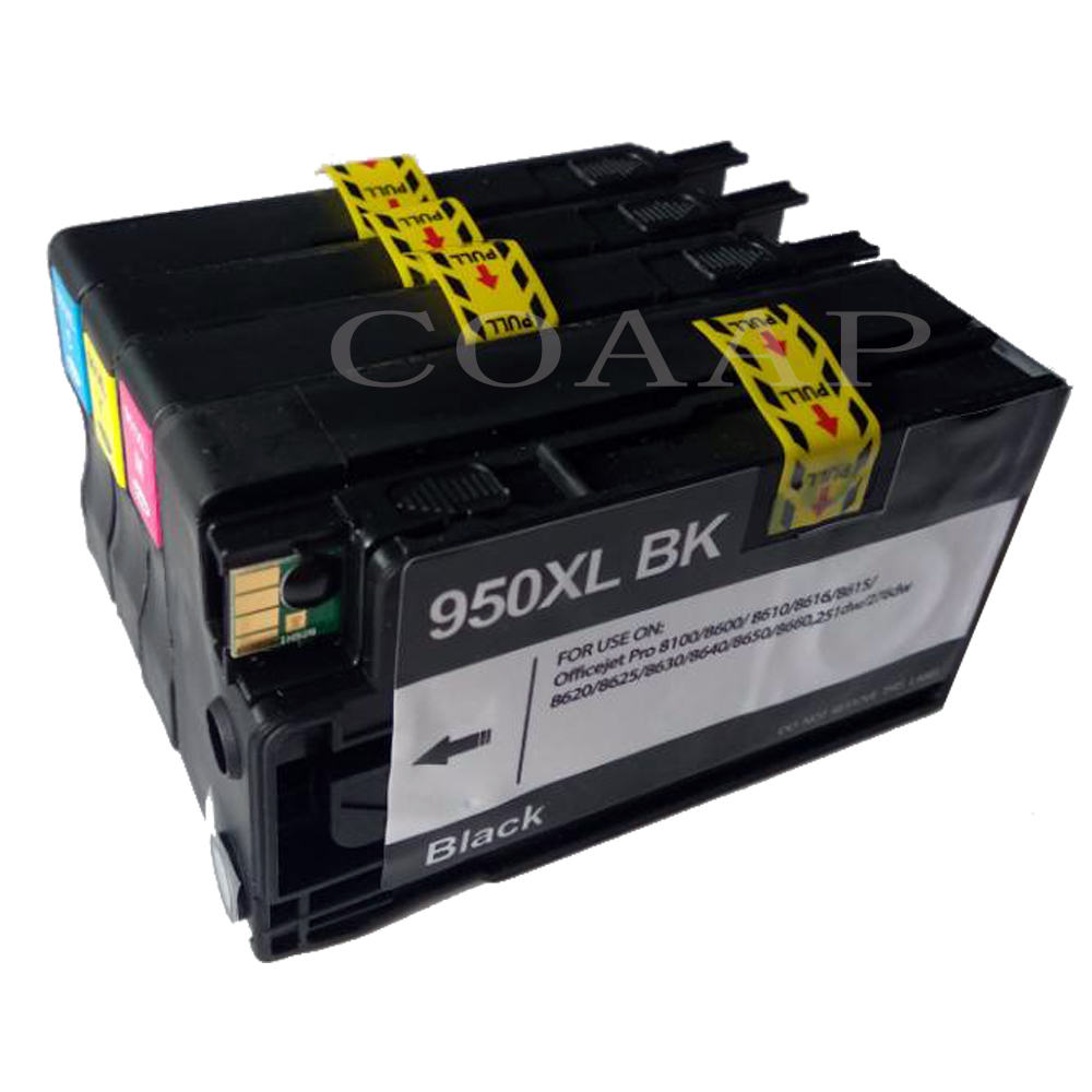 4 Compatible hp950 hp951 Ink Cartridge for <font><b>HP</b></font> 950 <font><b>951</b></font> XL Officejet Pro 8100 8600 8630 8610 8620 8680 8615 8625 Printer with chip image