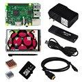 Raspberry Pi 3 Modelo B Junta + 3.5 Pantalla Táctil TFT + Caja Transparente + 2 unids Disipador de Calor + 16 GB TF Card + fuente de Alimentación 2.5a (de LA UE O EE.UU.)