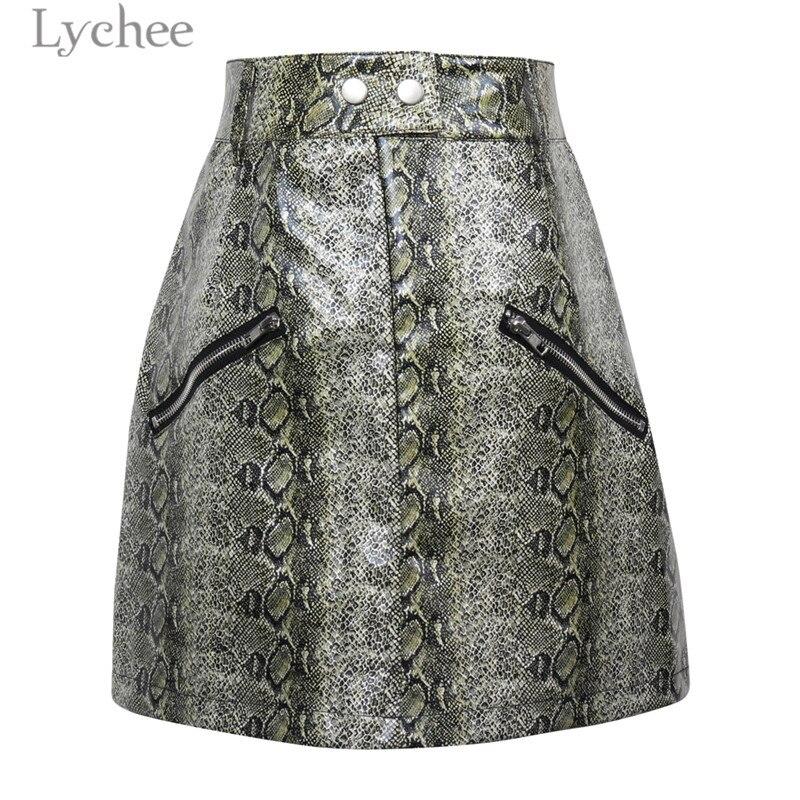 Lychee Trendy Frauen Snakeskin Rock Zipper Hohe Taille Mini Rock Frühling Herbst Schlange Haut Rock mit Taste Serpentin