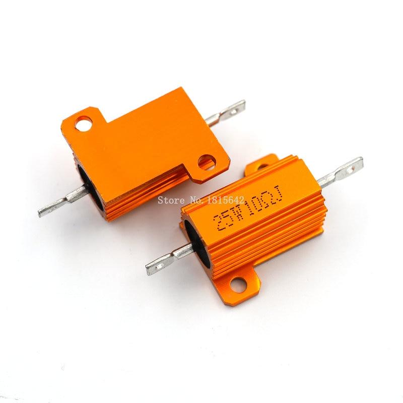 RX24 25W 10R 10RJ Power Metal Shell Aluminium Gold Resistor 25Watt 10 Ohm Power Heatsink Resistance Golden Heat Sink Resistor