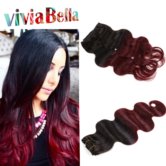 Malaysian Human Hair Clip In Extensions Ombre Body Wave Clip Ins T1b