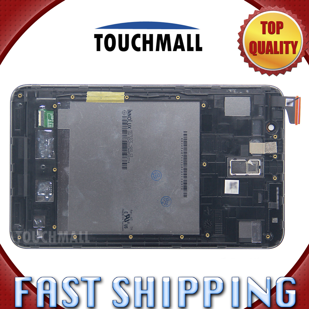 For New LCD Display Touch Screen with Frame Assembly Replacement Asus Memo Pad 7 ME176 ME176C ME176CX Black White Free Shipping 6 0 lcd display digitizer touch screen with frame for huawei ascend mate 7 mt7 white black gold free shipping