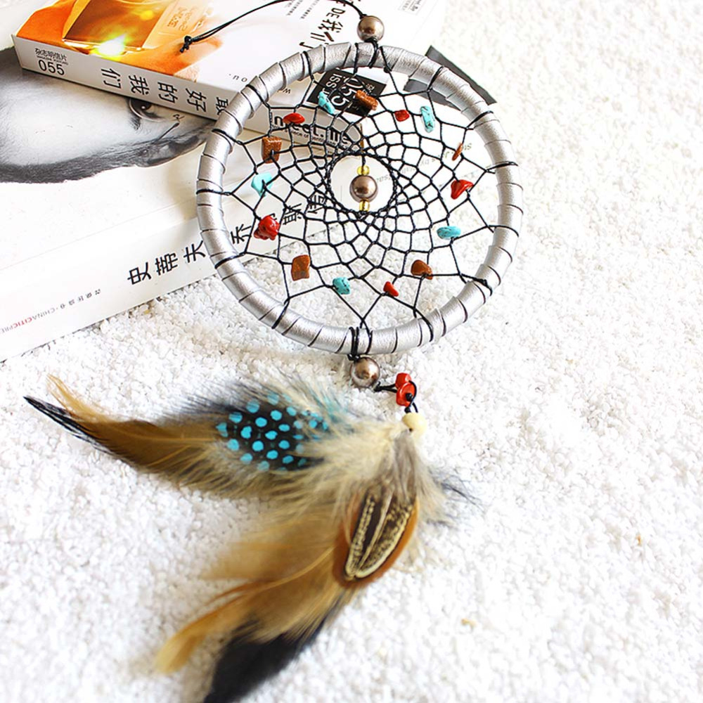 D1U# Indian Style Silver Dream Catcher Feathers Core Bead Dreamcatcher for Wall Car Decoration Free Shipping