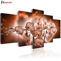 Huacan 5D DIY Diamond Embroidery Orchid Flower Diamond Painting Cross Stitch Full Rhinestone Mosaic Multi Picture