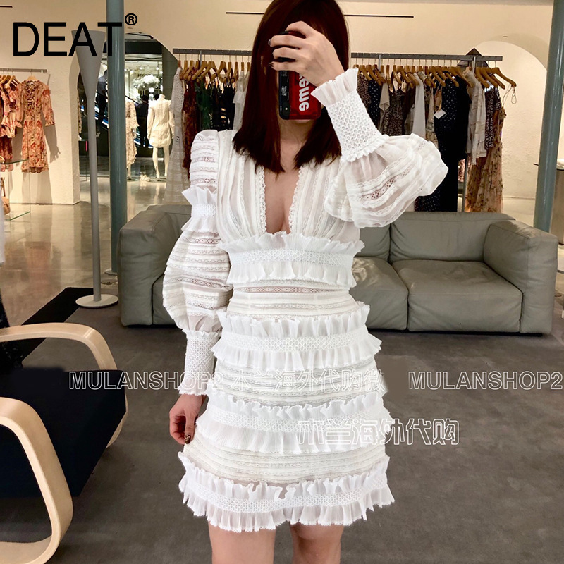 DEAT 2020 New Spring And Summer Fashion Women Clothing V-neck Lantern Sleeves Lace Ruffles High Waist Dress WD32100L