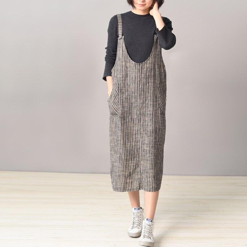 2018 ZANZEA mujeres Strappy Stripe sin mangas bolsillos Suspender Vestido Baggy Loose Casual Backless trajes más tamaño