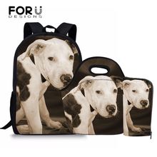 FORUDESIGNS Bull Terrier printed children school bags for teenagers boys girls school backpack set satchel kids pencil book bags цены онлайн