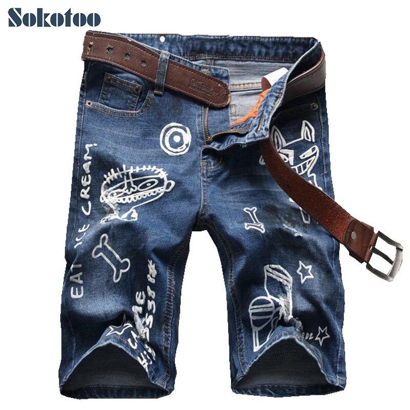 Sokotoo Men's summer cartoon printed knee length denim shorts Male casual slim hole ripped denim jeans Capri slim casual chino printed shorts