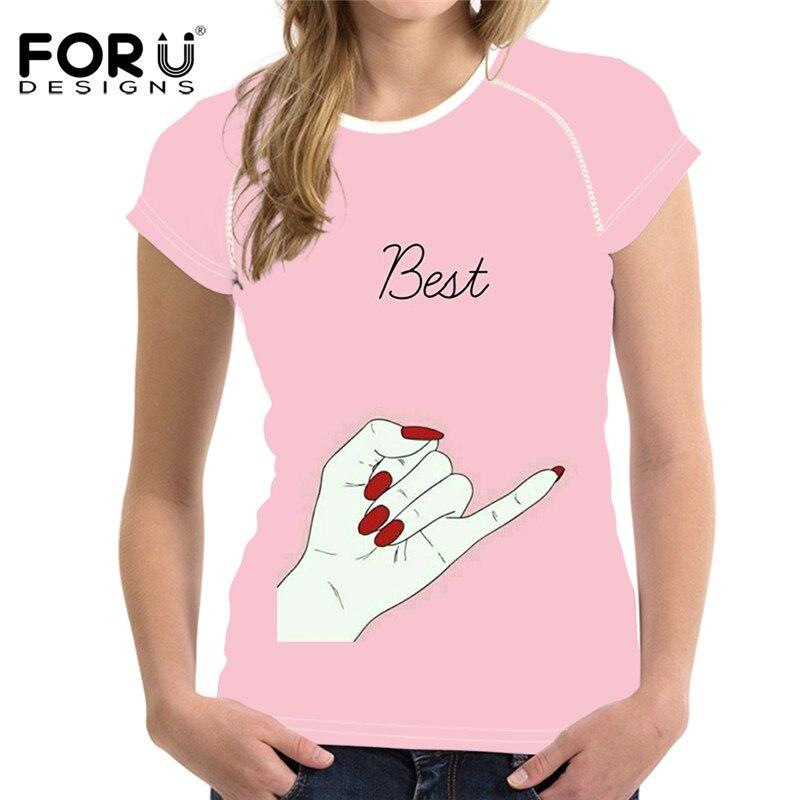FORUDESIGNS Funny Best Friends T Shirt Women,Kawaii Cute Womens Tshirt femme,Summer Woman Short Sleeve Clothes Ladies T-shirt