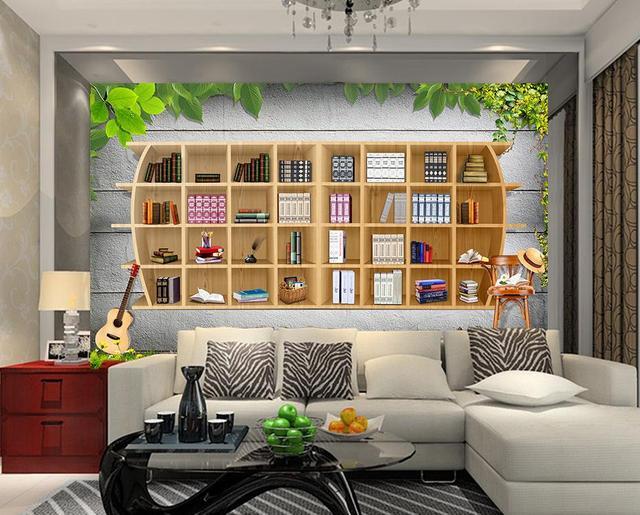 Carta Da Parati Moderna Per Soggiorno : D carta da parati moderna per soggiorno murales libreria creativa