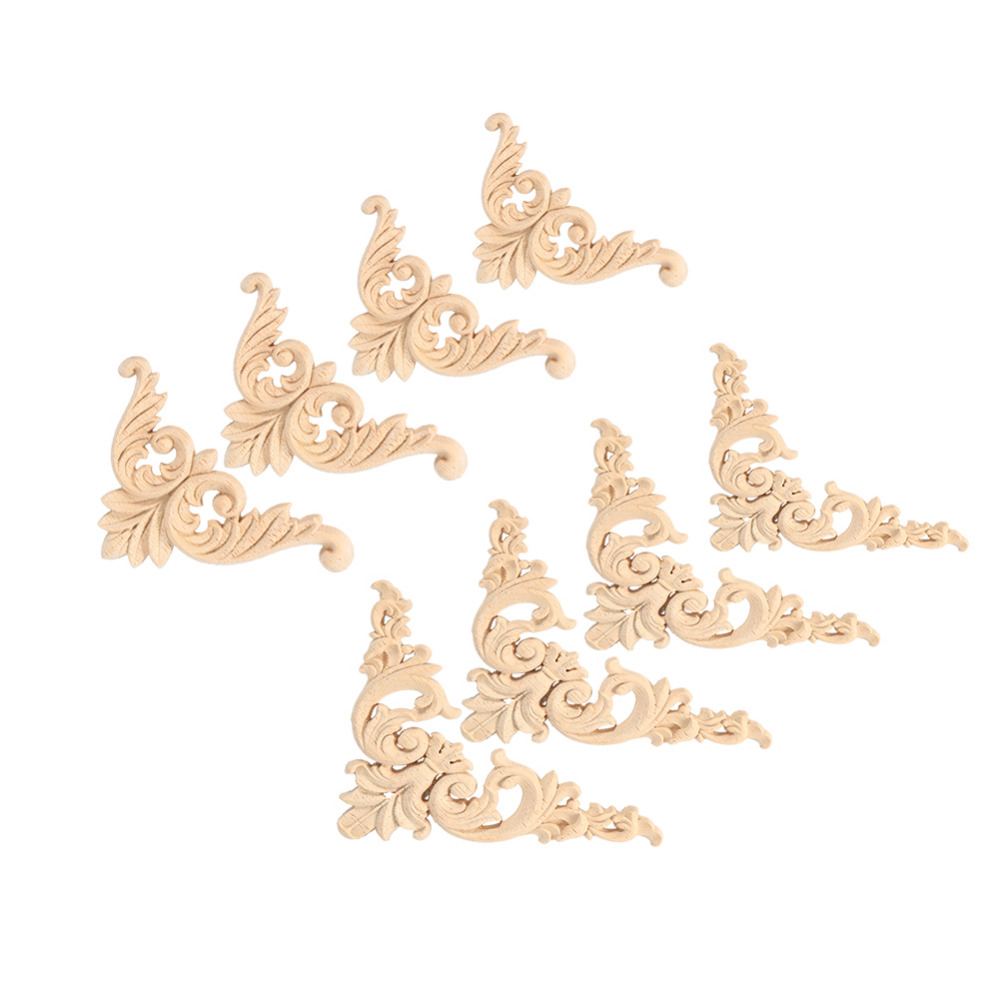 4pcs/set Rubber Wood Carved Corner Onlay Applique Furniture Flower Shape Unpainted Decoration Furniture Accessories